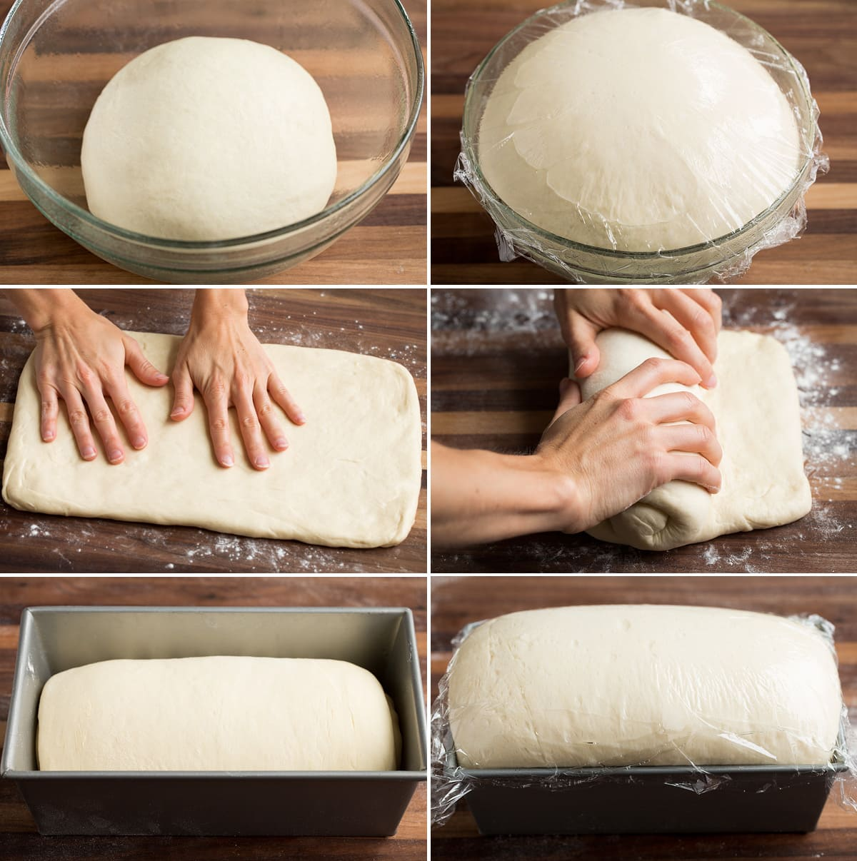 Image including a collage of 6 images showing bread dough before and after rising, patting into a rectangle, rolling dough up, then dough before and after rising in a bread pan.