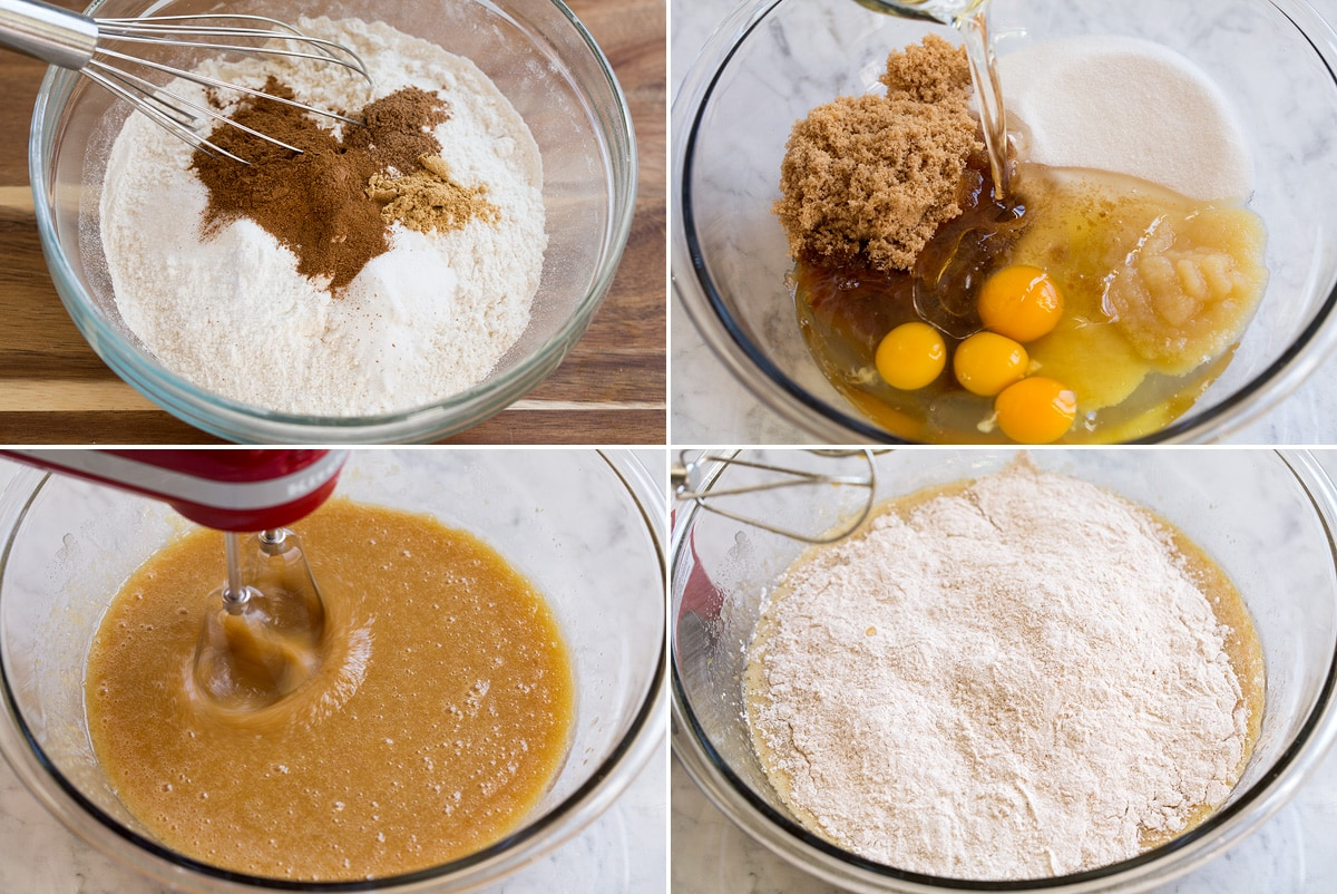 Four steps of preparing cake batter shown here. First showing to whisk flour and spices, second adding wet ingredients and sugar to a mixing bowl. Third blending, and fourth adding flour mixture to batter.