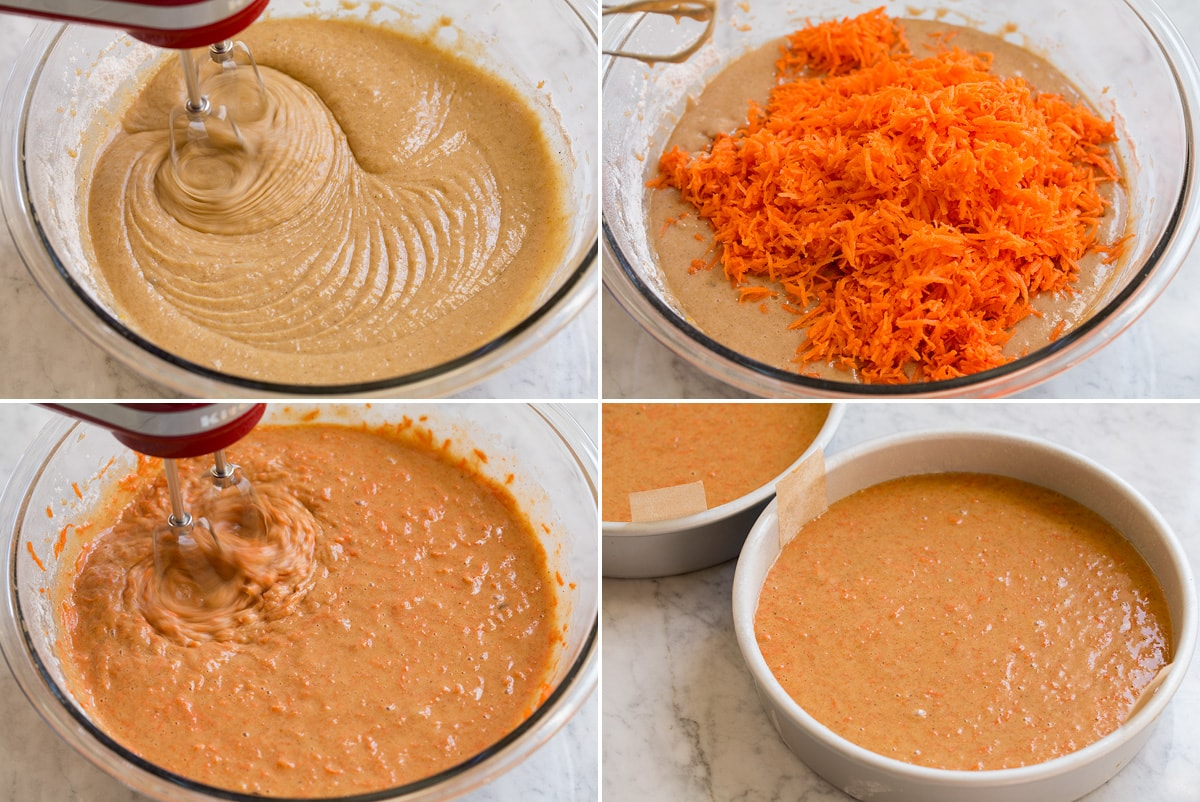 Next four steps of preparing cake batter shown. Including blended batter after adding flour mixture. Adding finely shredded carrots. Mixing. And batter in two round cake pans.