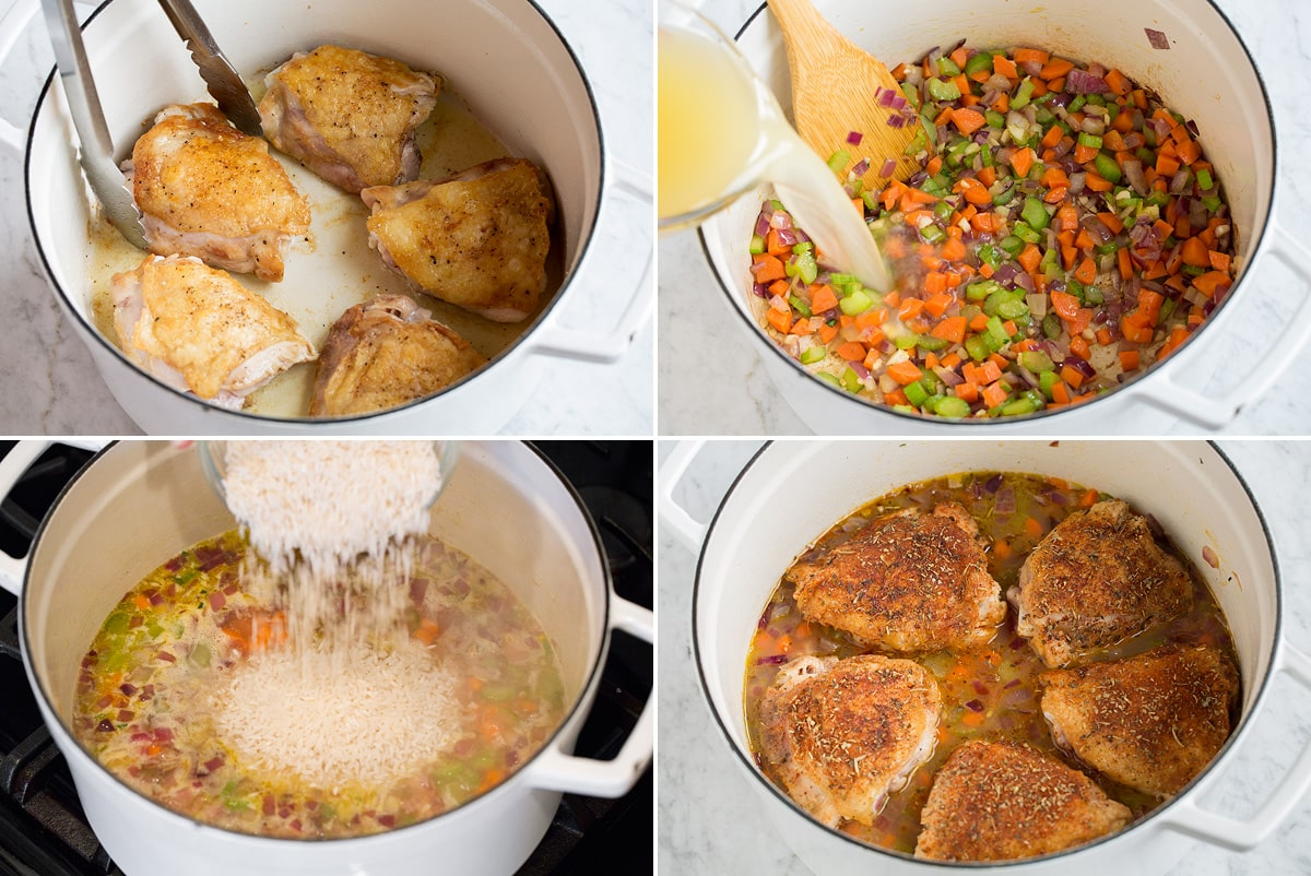 Collage image of four steps showing how to make Chicken and Rice in a pot.
