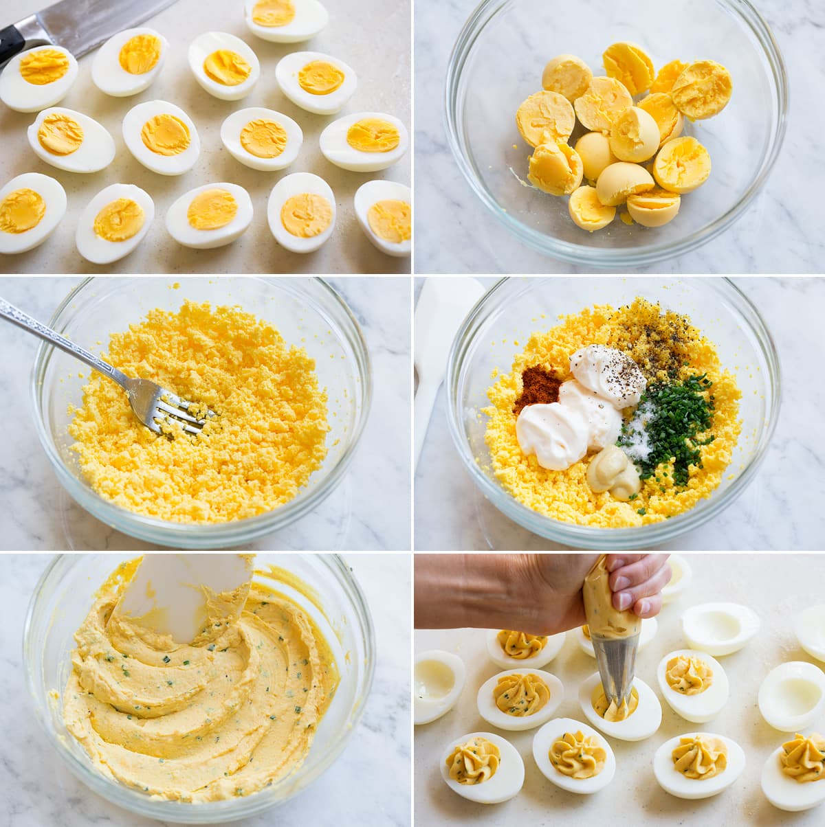 Image showing six steps of preparing deviled eggs including halving boiled eggs, removing yolks into a bowl, mashing yolks, adding mayonnaise and seasonings, mixing to combined then piping filling into egg whites.