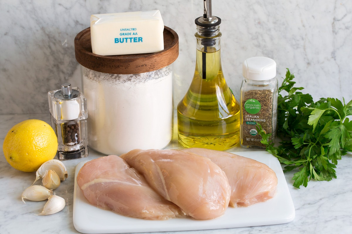Image of ingredients used to make garlic butter chicken bites.