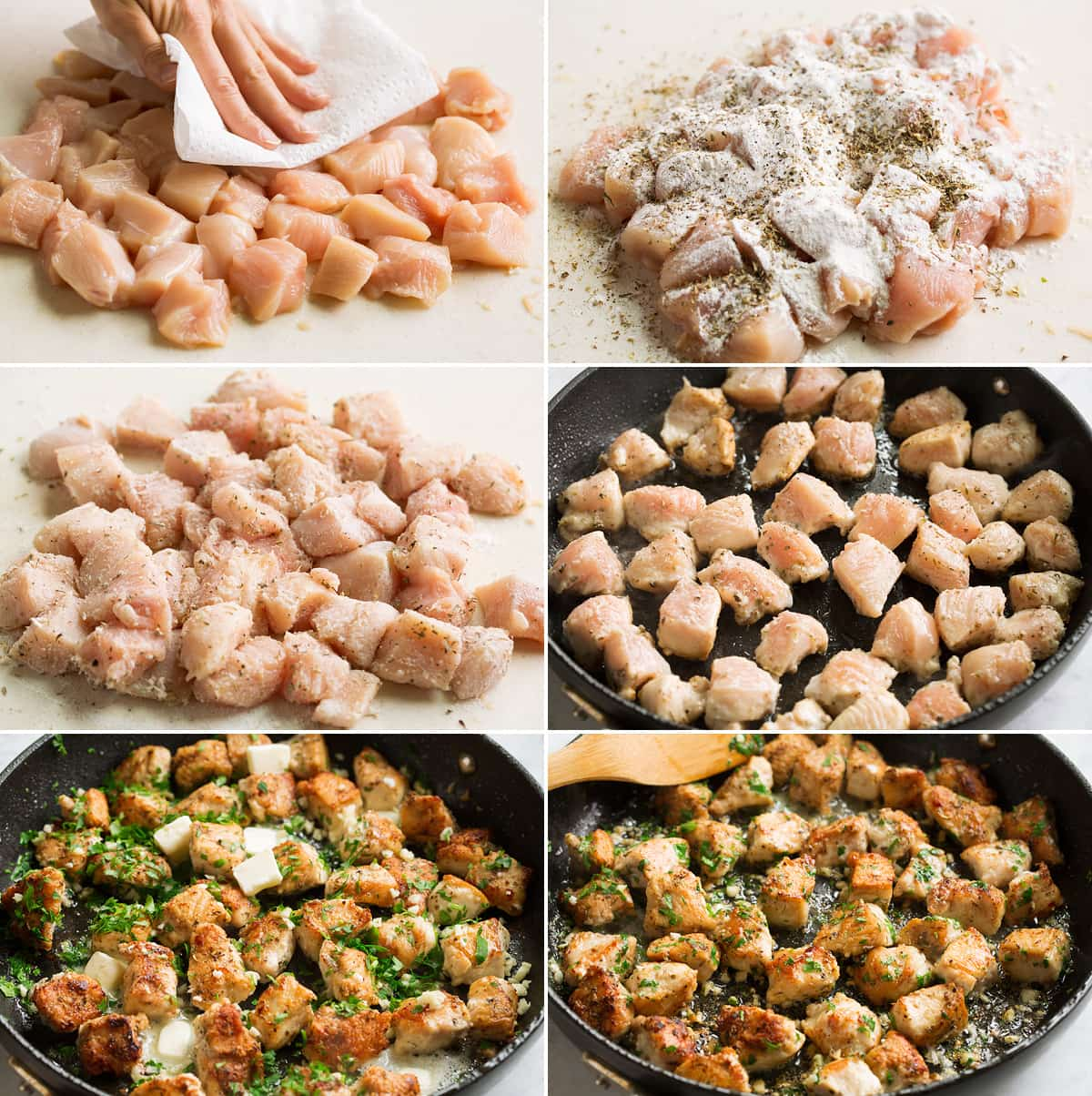 Collage image of 6 steps showing how to prepare and cook garlic butter chicken bites.