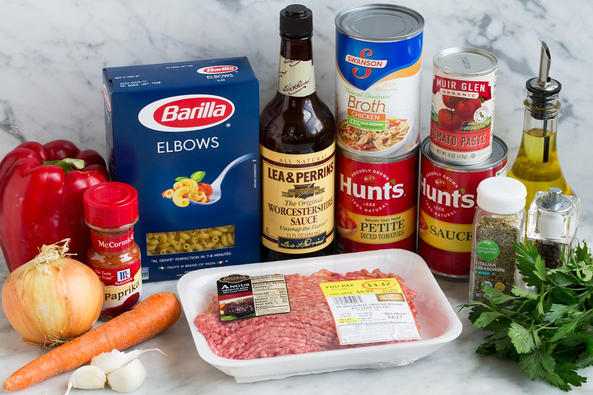 Image of ingredients used in American beef goulash.