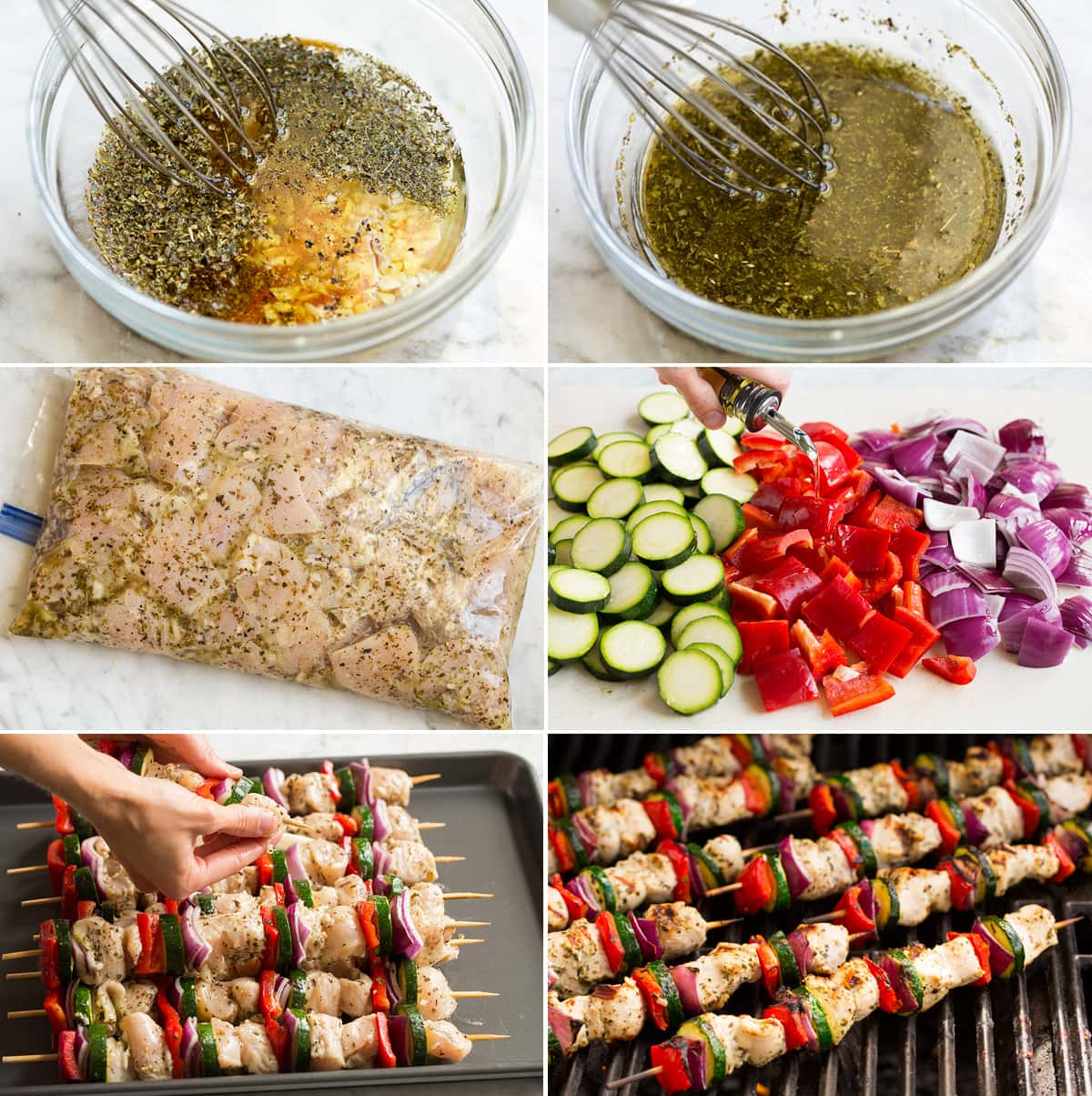 Collage of 6 images showing steps of making marinade, greek chicken soaking, drizzling vegetables with oil, threading ingredients onto skewers and grilling kebabs.