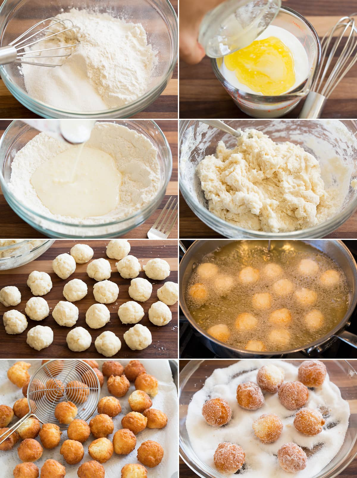 Image showing steps to making easy homemade donuts dough and frying donuts.