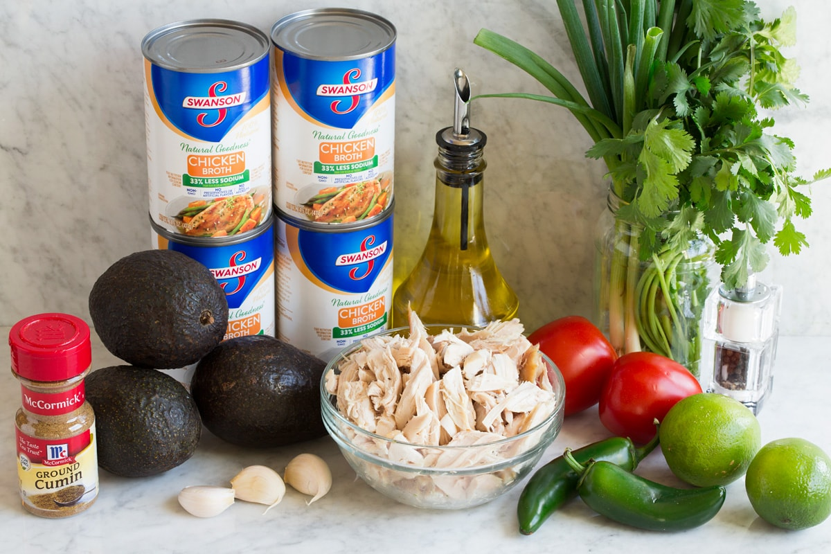 Image of ingredients used to make chicken soup with avocado.