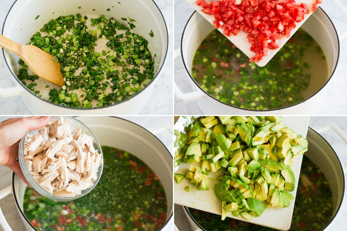 Collage image of 4 steps showing how to make homemade chicken soup with avocado.