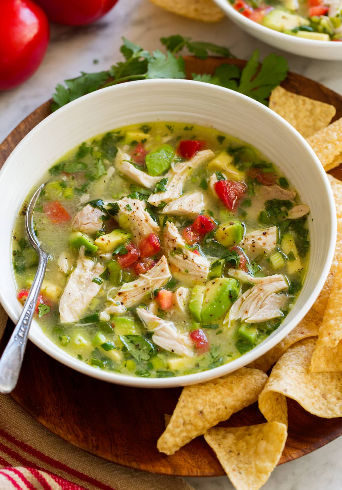 Single serving of chicken avocado soup in a bowl shown from the side.