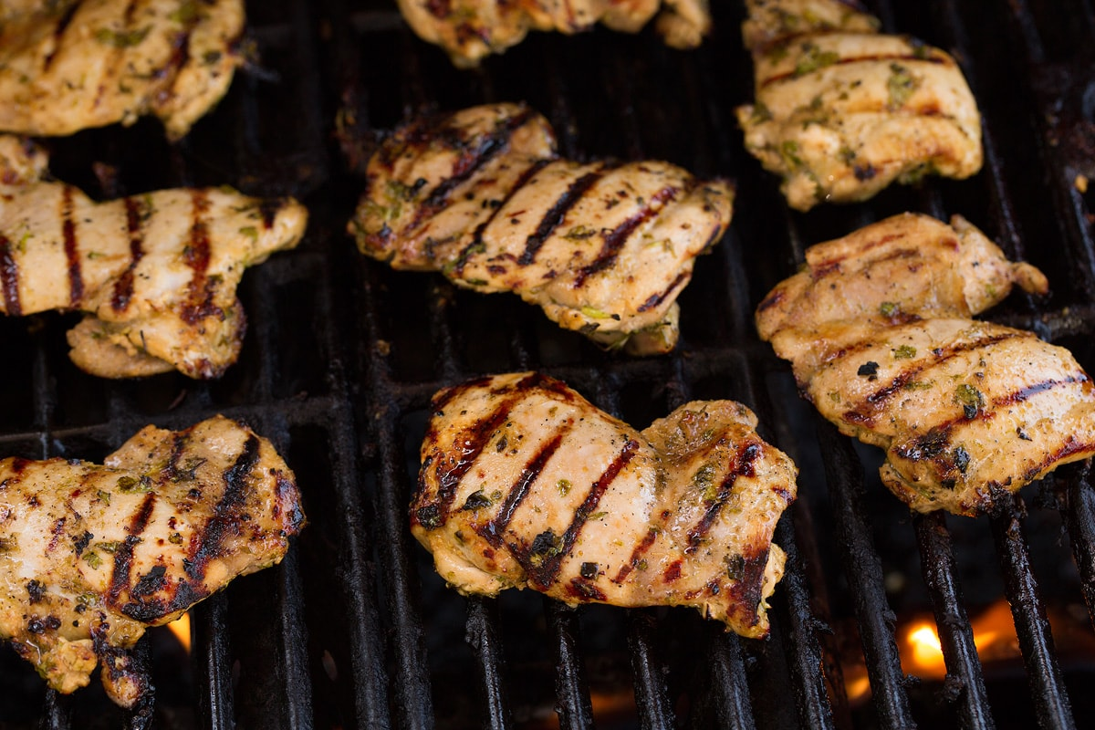 Cilantro Lime Chicken thighs shown once fully cooked on the grill.