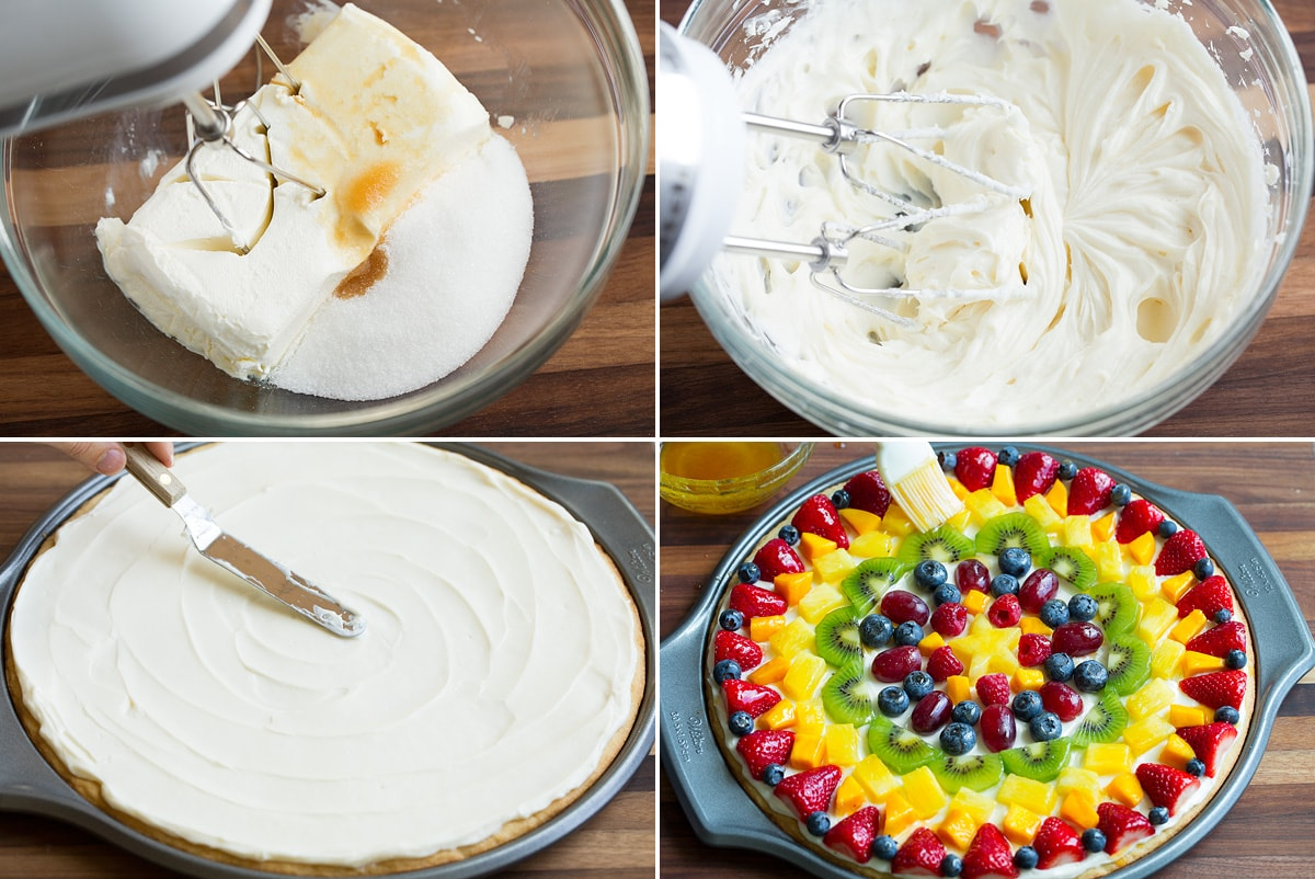 Collage image showing how to make cream cheese toppings, spreading it on the fruit pizza crust and topping fruit pizza with fresh fruit and jam glaze.