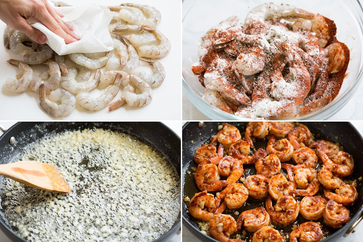 Collage image of four steps showing how to prepare Hawaiian garlic shrimp. Includes drying shrimp with paper towels, tossing shrimp in a bowl with spices and flour, sauteeing garlic with butter and cooking shrimp in pan.
