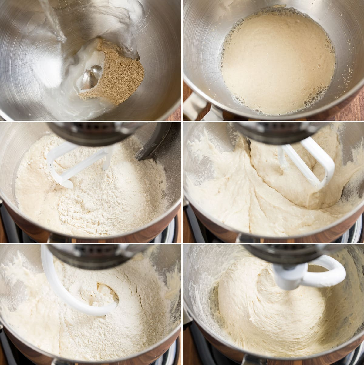 Collage image of 6 steps to making pizza dough in a stand mixer.