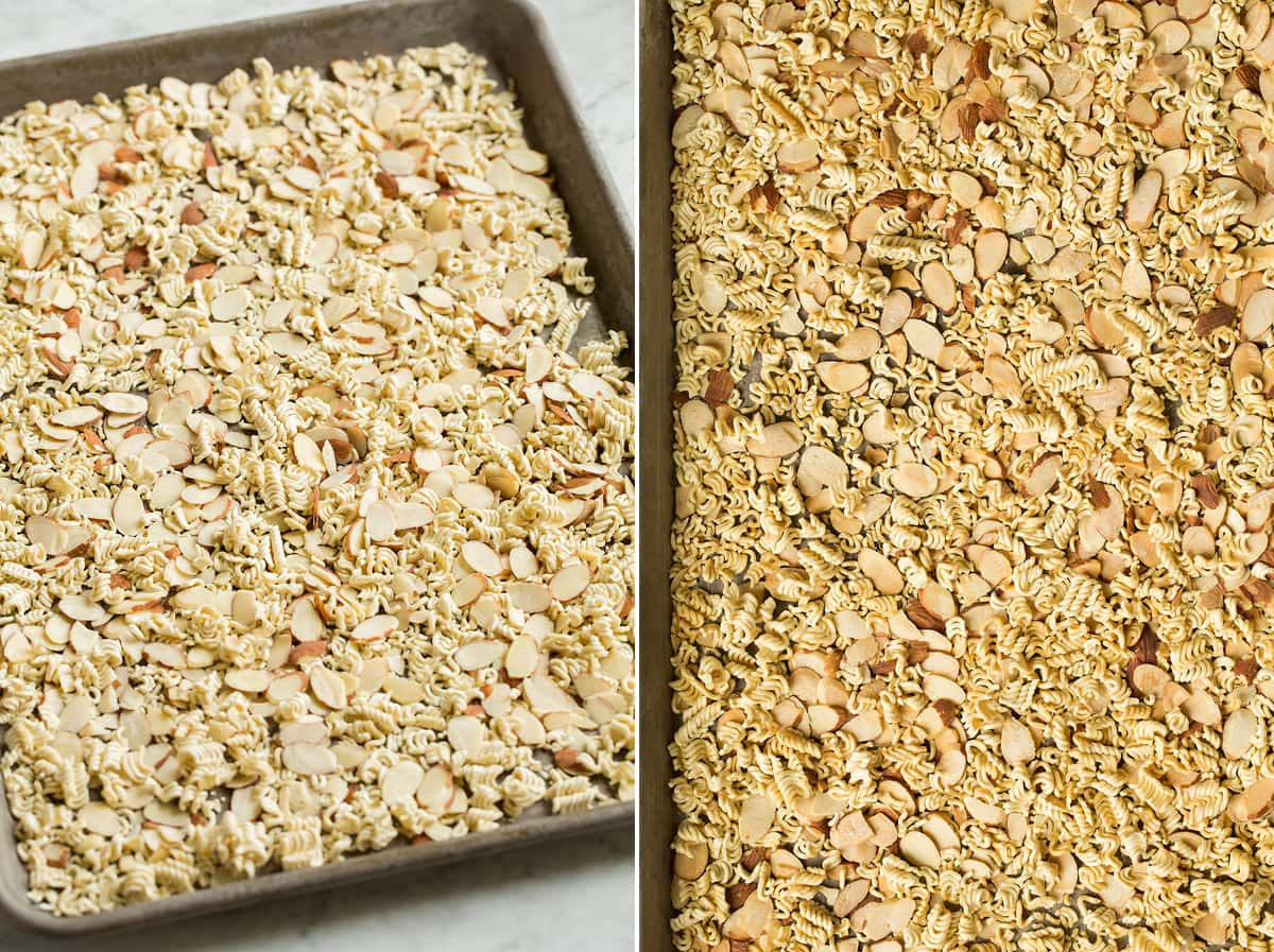 Collage image of ramen and sliced almonds on a baking sheet shown before and after toasting.