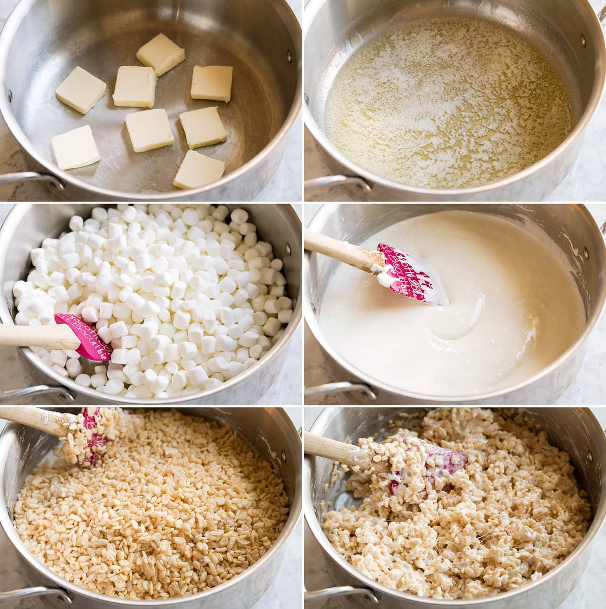 Collage image of 6 steps to make rice krispies treats in a pot. Includes melting butter, melting marshmallows and stirring in rice krispies cereal.