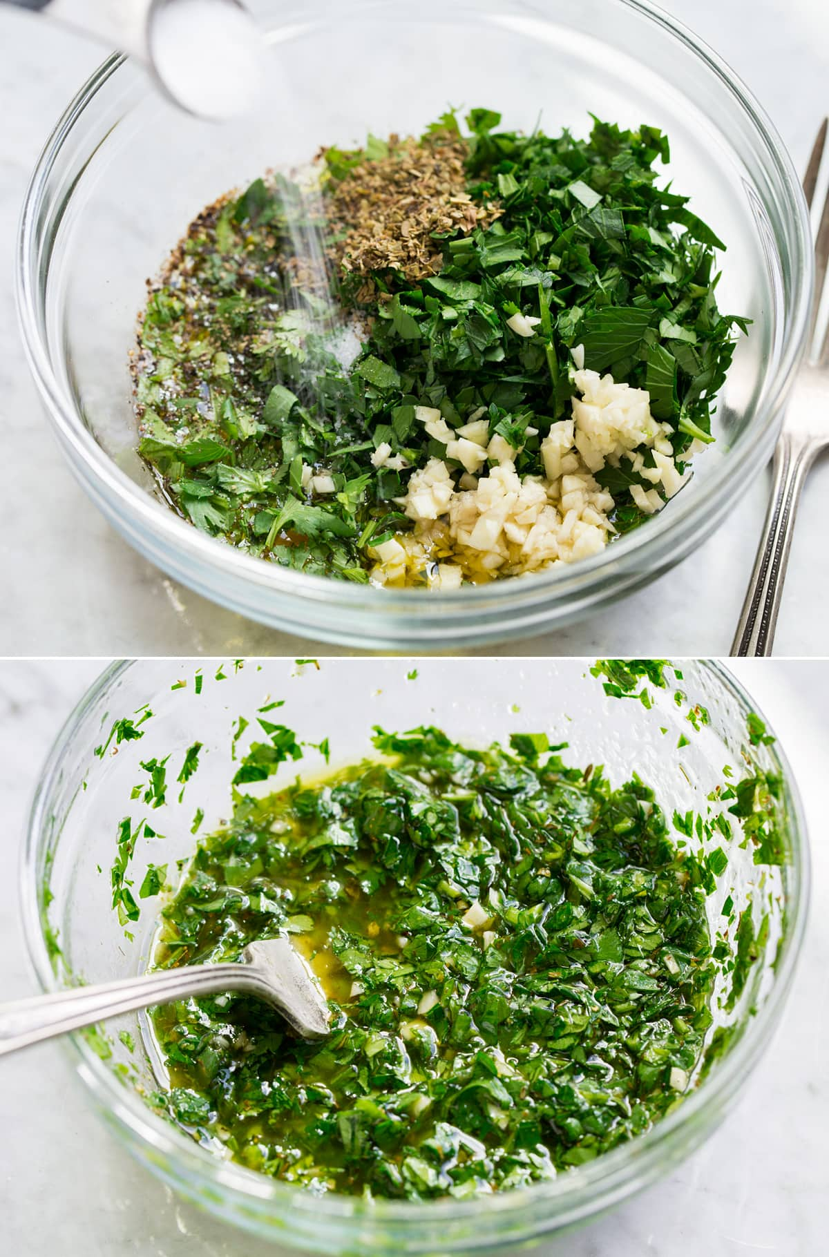 Avocado salad dressing being mixed in a glass bowl. Shown before and after mixing.