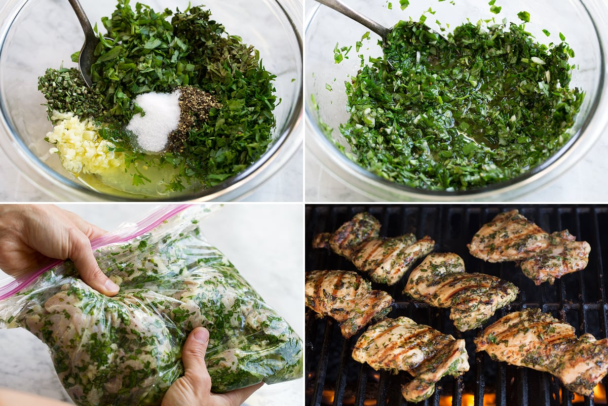 Collage image including four images showing steps how to make chicken marinade and grill chicken on grill.