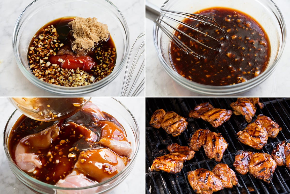 Collage of four images showing steps to making huli huli chicken marinade, marinating chicken and grilling chicken.
