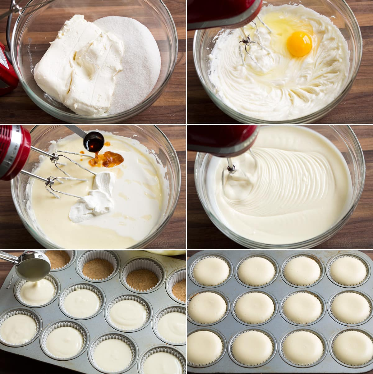 Collage image showing 6 steps to preparing cheesecake filling and pouring into cupcake pan.