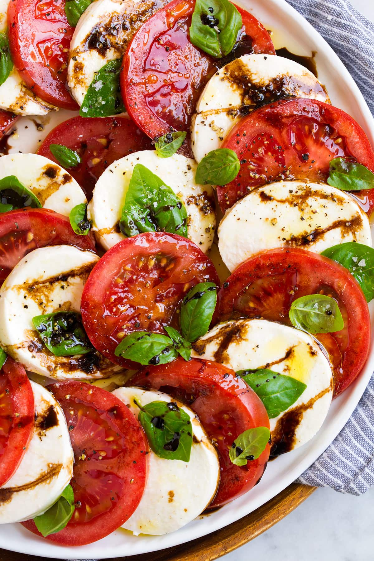 Close up image of caprese salad.