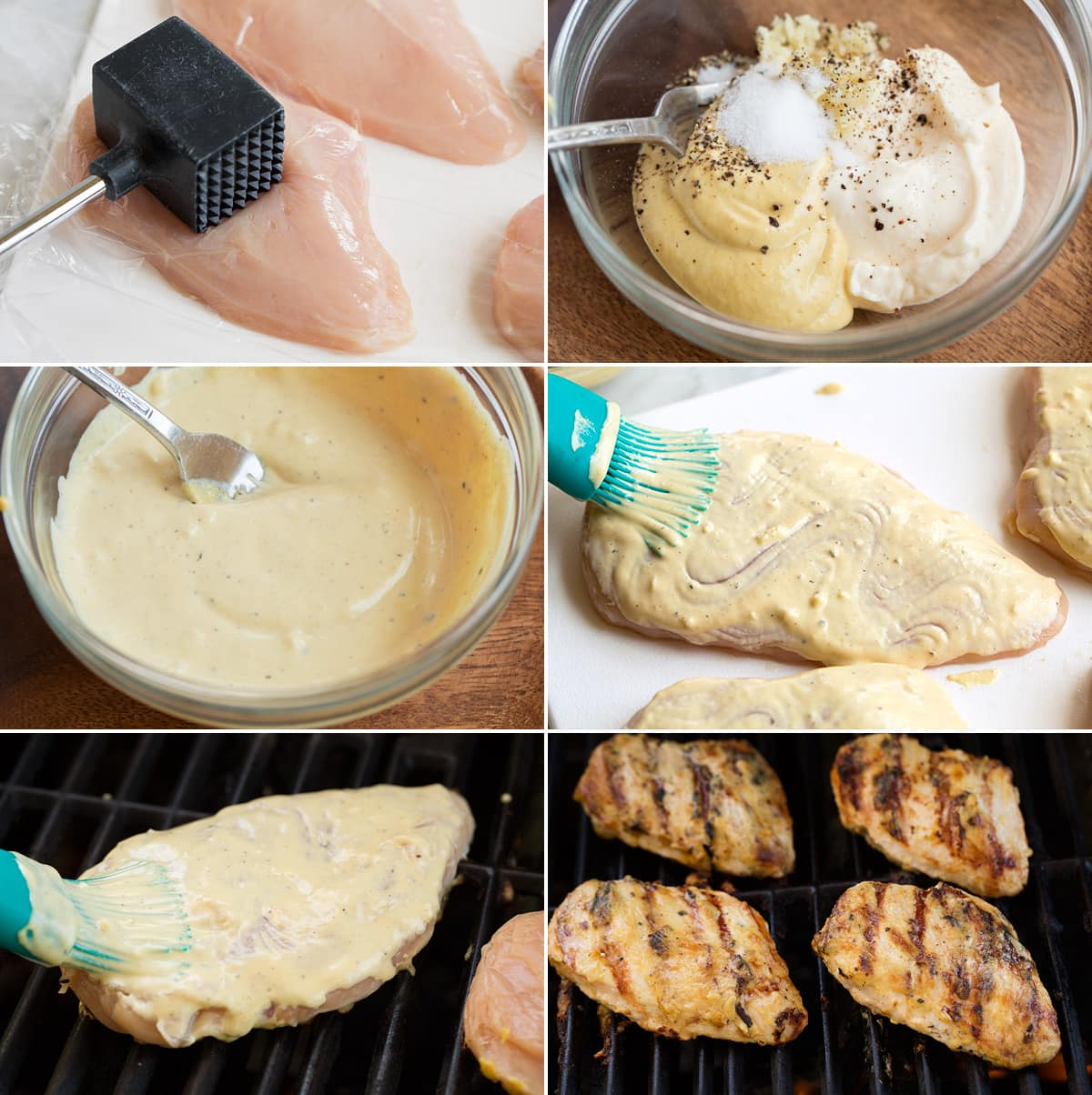 Collage of 6 images showning steps to preparing garlic and dijon chicken sauce and grilling the chicken.