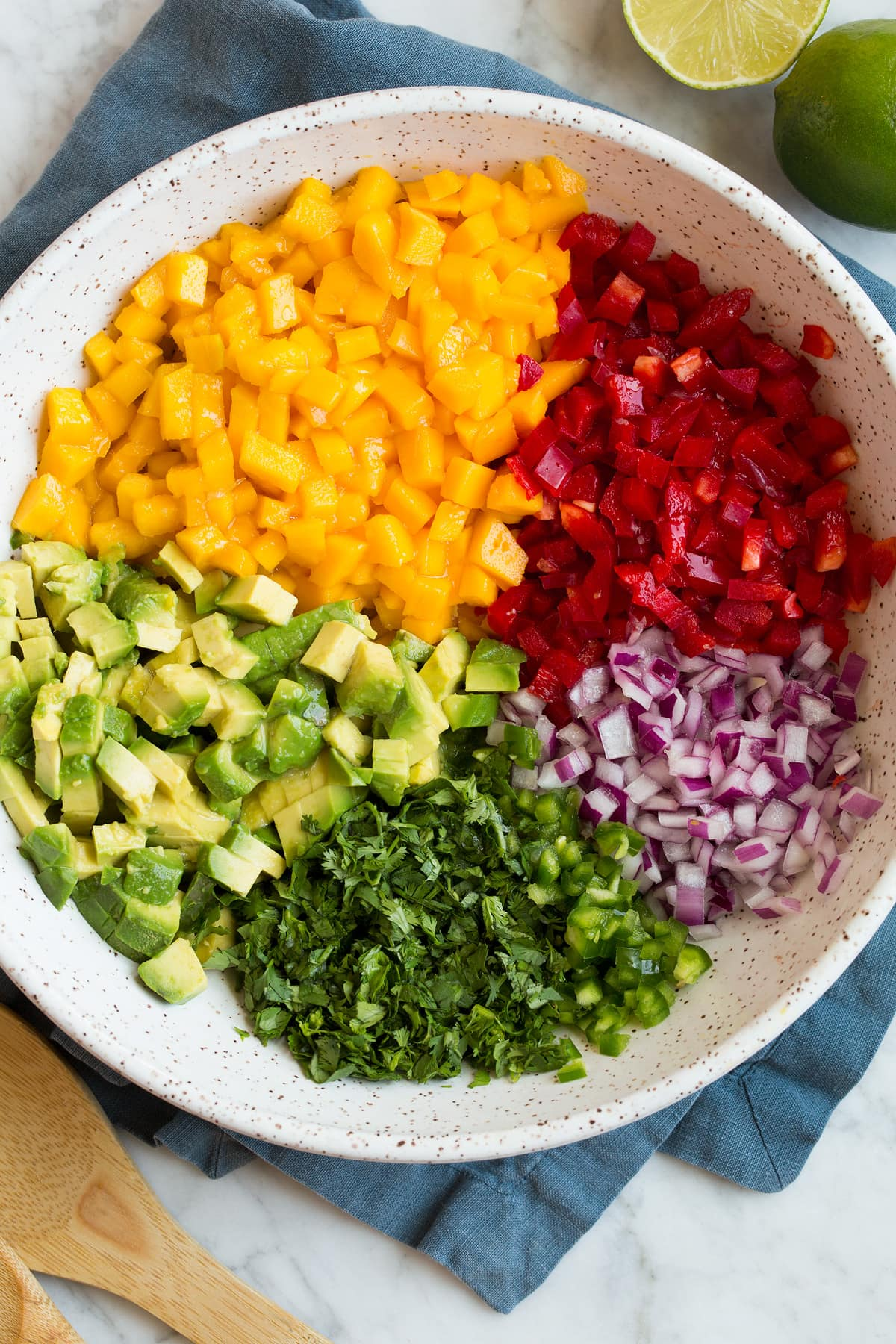 Prepared mango salsa ingredients shown in sections in a mixing bowl before tossing together.