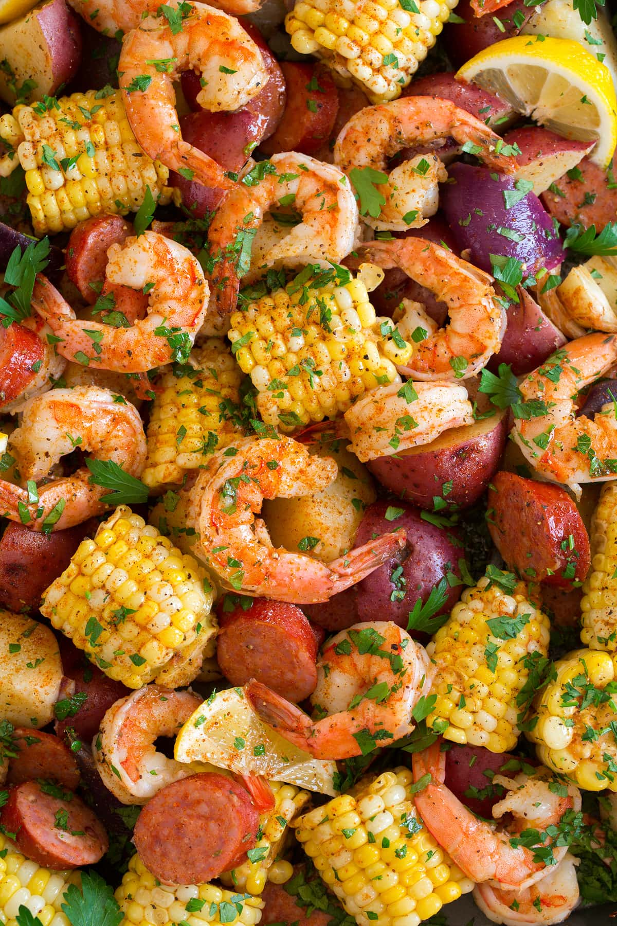 Close up image of shrimp boil.
