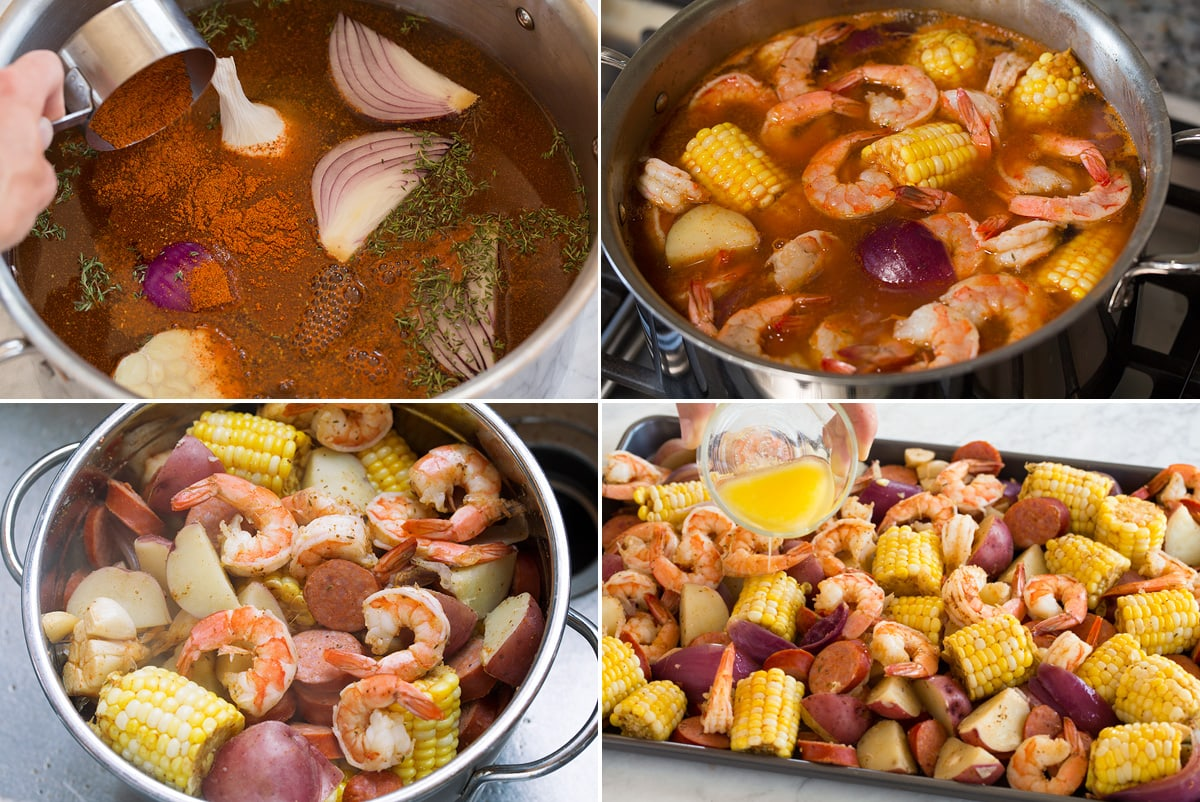 Collage image of four steps showing how to make shrimp boil in a pot, then draining in a colander and pouring butter over mixture on a platter.