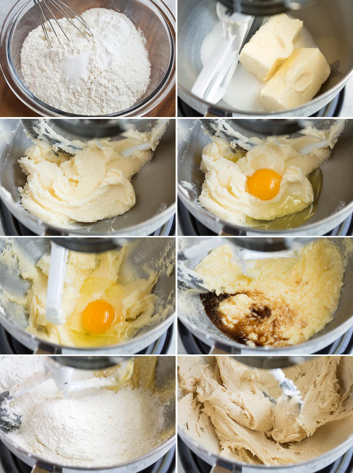 Collage image of 10 steps showing how to make sugar cookie bar batter in an electric mixer bowl with paddle.