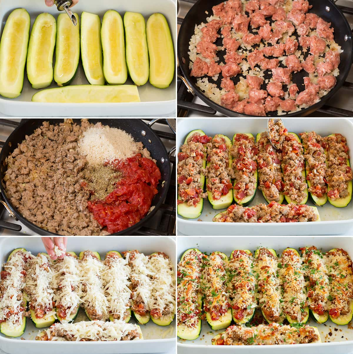 Collage of six images showing steps of making zucchini boats. Shows hollowed out zucchini boats in a baking dish. Browning onion and sausage. Adding panko, seasoning and tomatoes. Filling boats. Topping with cheeses. And shows finished after baking.