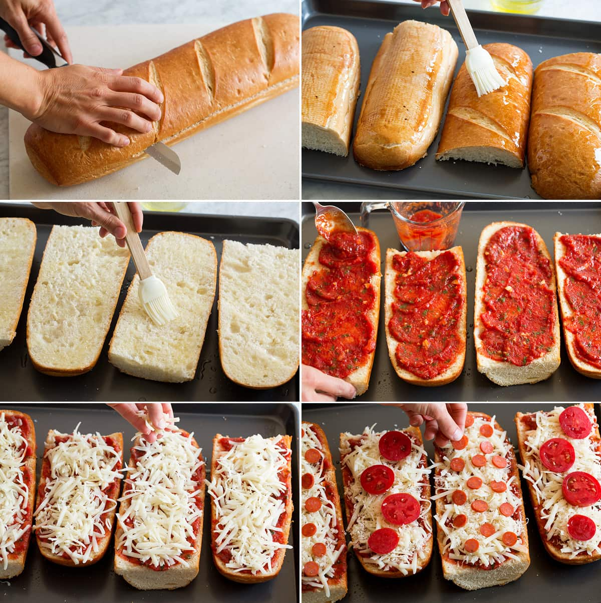Collage of six images showing steps to make french bread pizzas. Shows slicing french bread in half, brushing top and bottom with olive oil. Covering with pizza sauce. Topping with cheese and toppings.