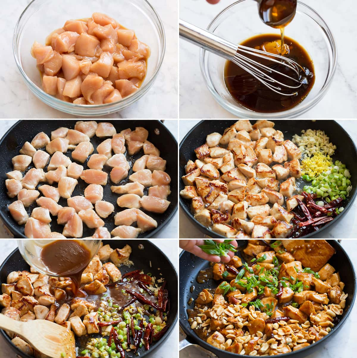 Collage of six images showing how to make Kung Pao sauce and cook thicken in skillet, then coat chicken and sauteed vegetables in skillet with sauce.