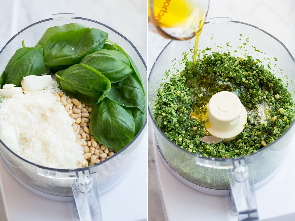 Collage of two images showing steps of making pesto in a food processor.