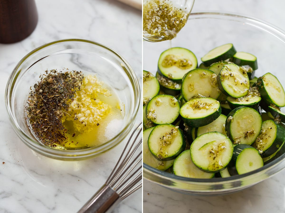 Collage of two images showing how to make baked zucchini. Shows mixing the olive oil and seasonings on the left image and tossing it with zucchini in a mixing bowl in the right image.
