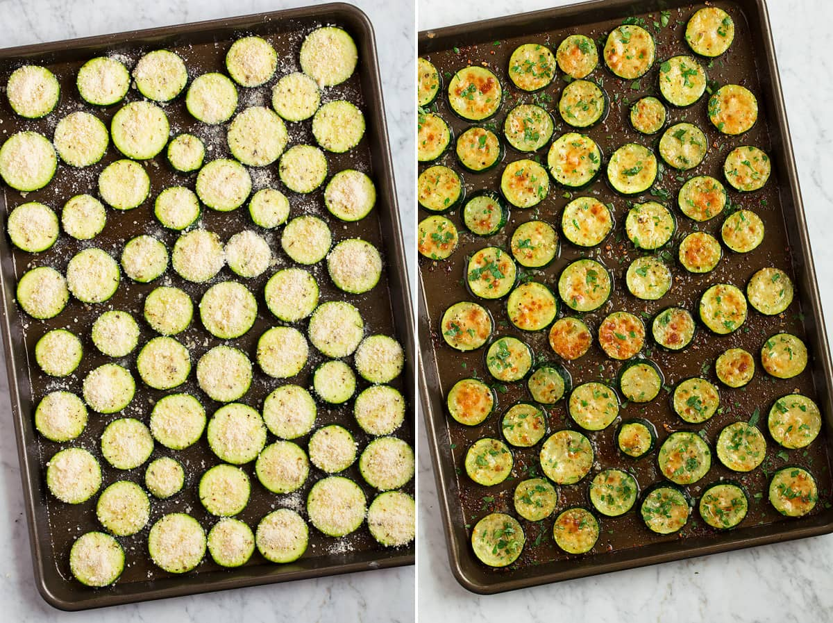 Collage of two images showing zucchini slices on a baking sheet before and after roasting.