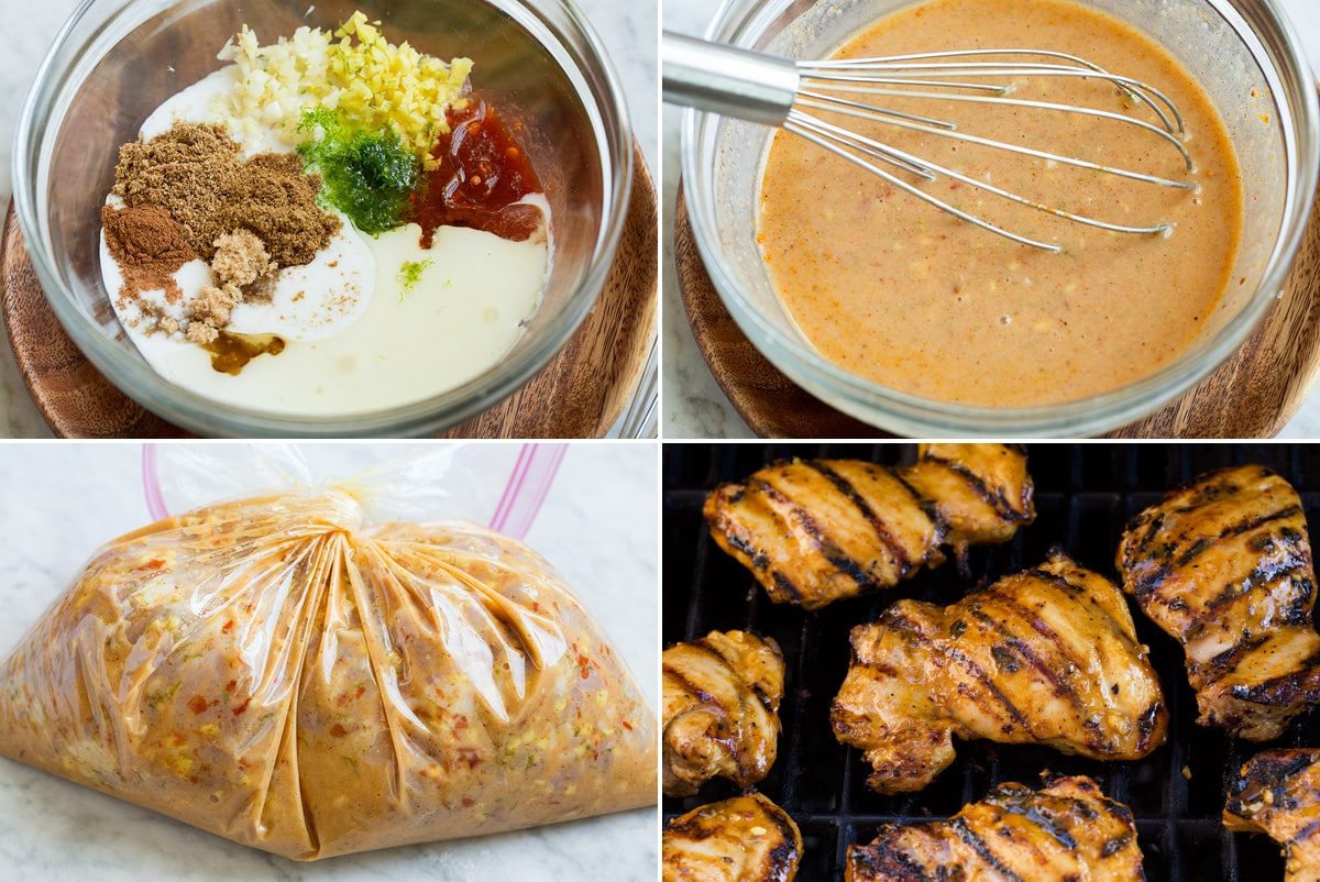 Collage of four images showing steps of preparing coconut lime marinade and grilling chicken.