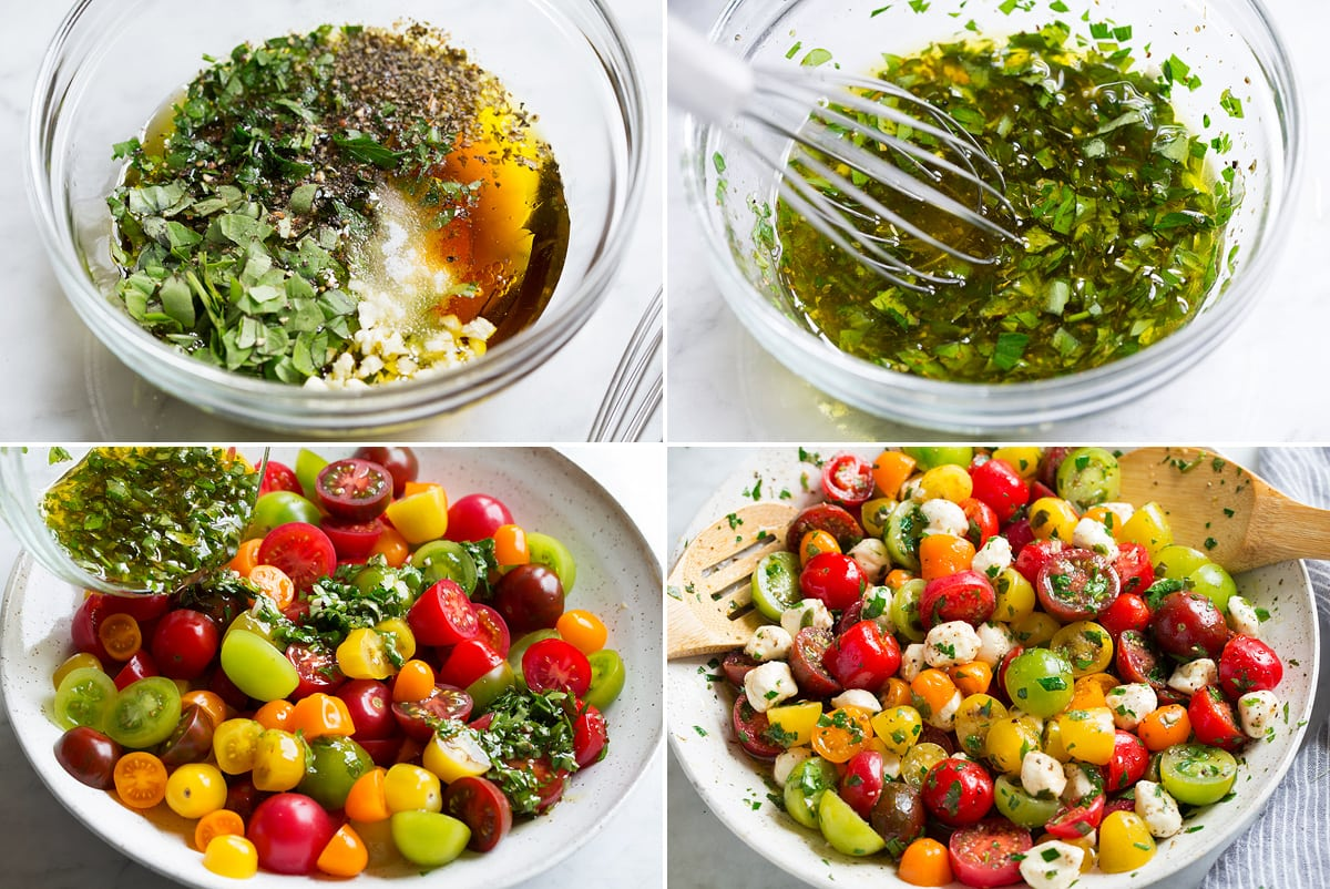 Collage of four images showing steps of making tomato salad. Shows mixing dressing in a glass bowl before and after and tossing tomatoes and mozzarella with dressing in a serving bowl.