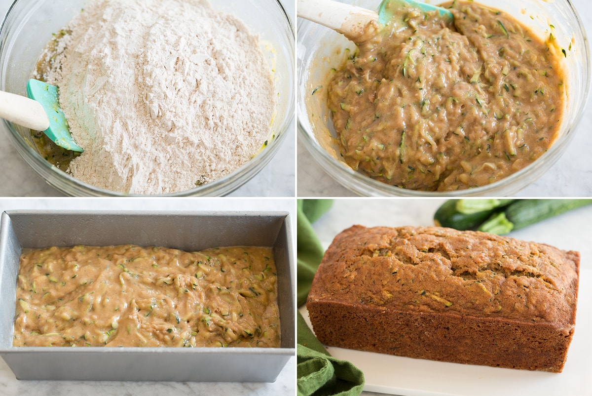 Collage image of four steps of mixing zucchini batter, pouring into pan, and showing the finished loaf after baking.