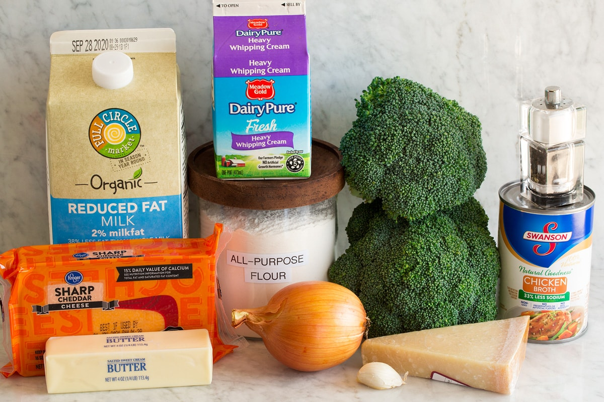 Image of ingredients used to make broccoli cheese soup. Shows broccoli, sharp cheddar cheese, parmesan cheese, butter, onion, garlic, flour, heavy cream, chicken broth, salt and pepper and milk.