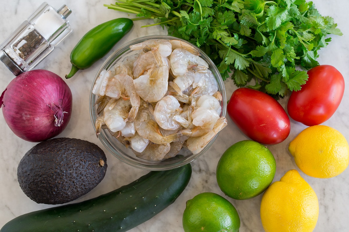 Photo of ingredients used to make ceviche. Includes raw shrimp, lemons, limes, tomatoes, cilantro, jalapeno, red onion, avocado, cucumber, salt and pepper.