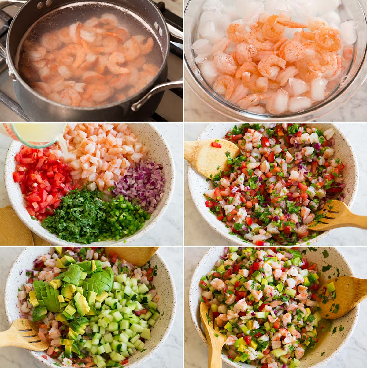 Collage of six images showing steps to cooking shrimp, chilling it in ice, and tossing together ceviche ingredients in a mixing bowl.