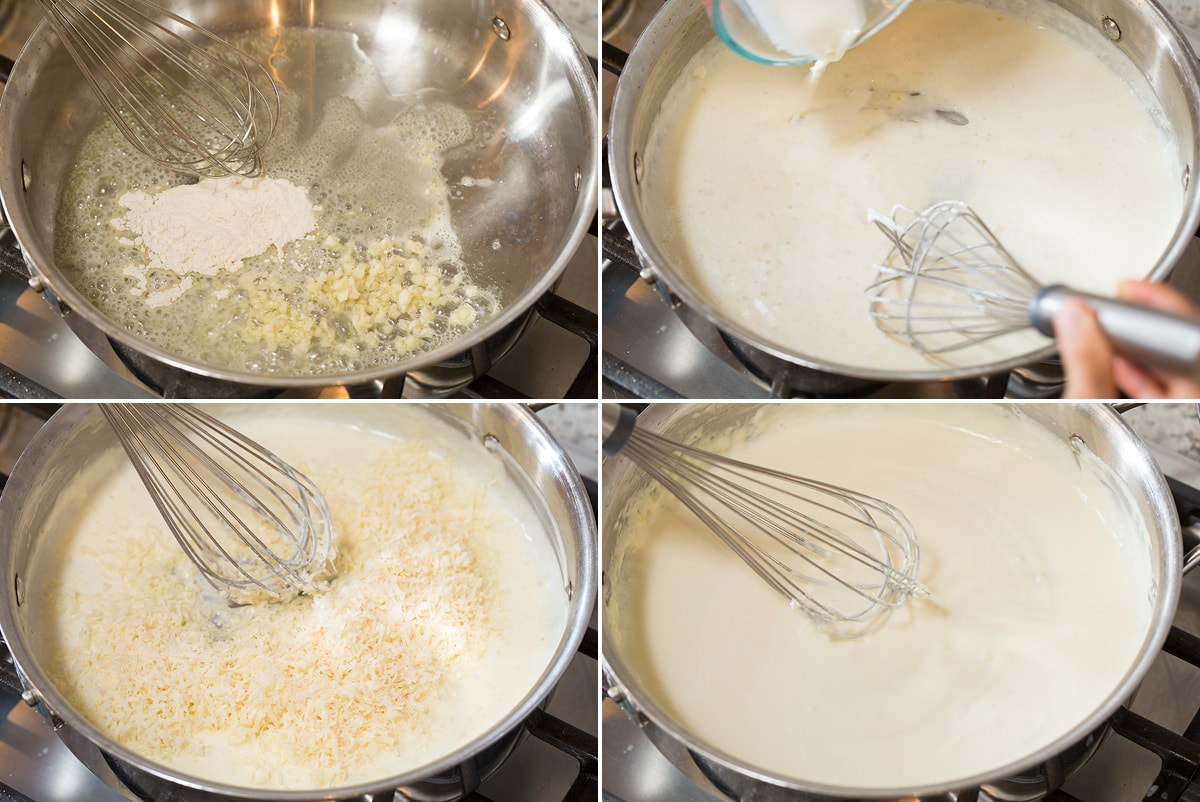 Collage of four images showing how to make cheesy alfredo style sauce.