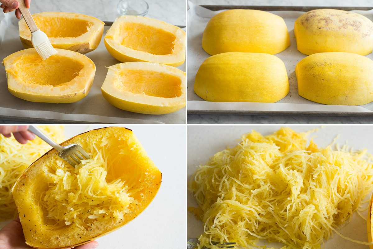 Collage of four images showing how to roast and shred spaghetti squash.