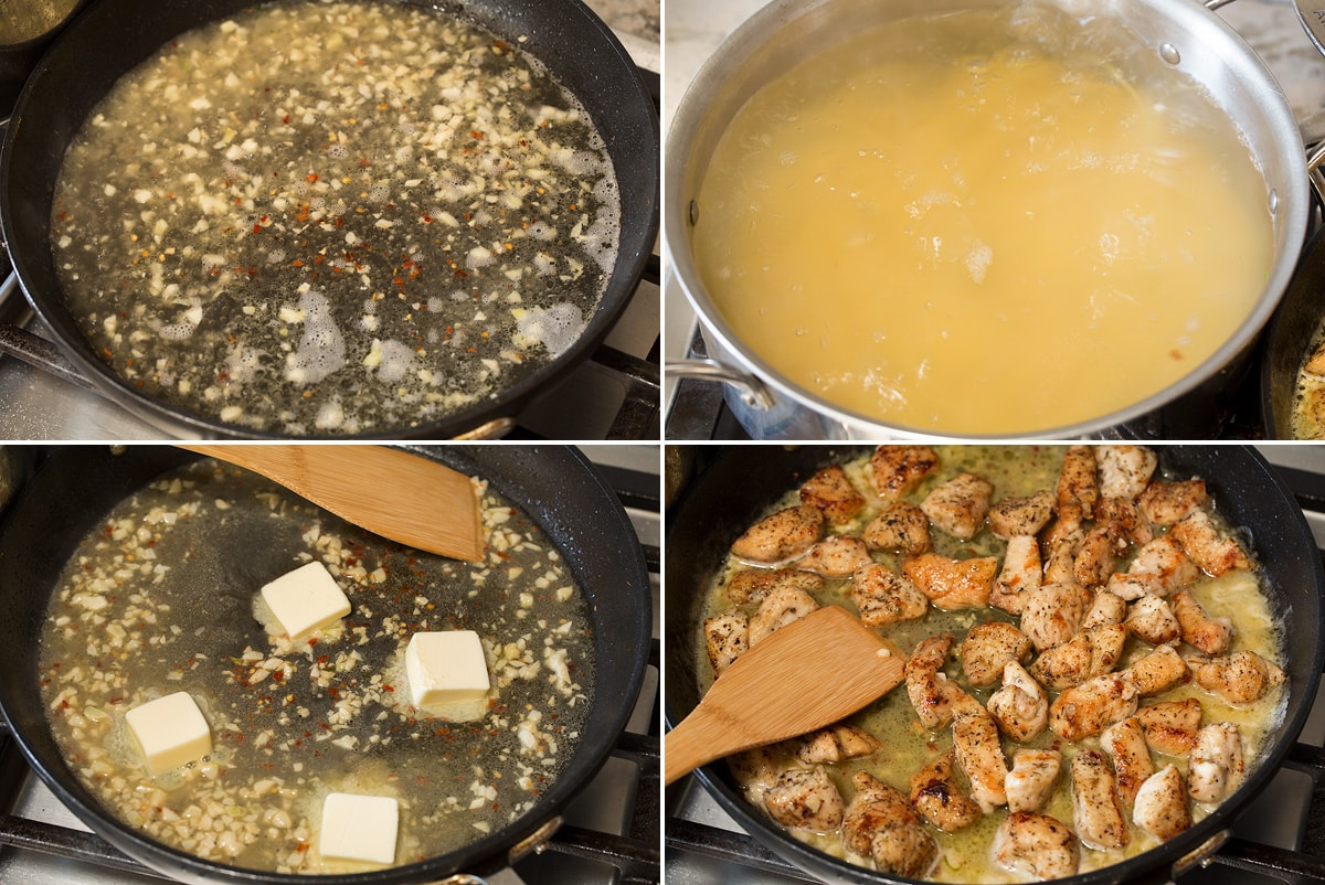 Collage of four images showing how to make scampi sauce and toss with chicken in a pan.