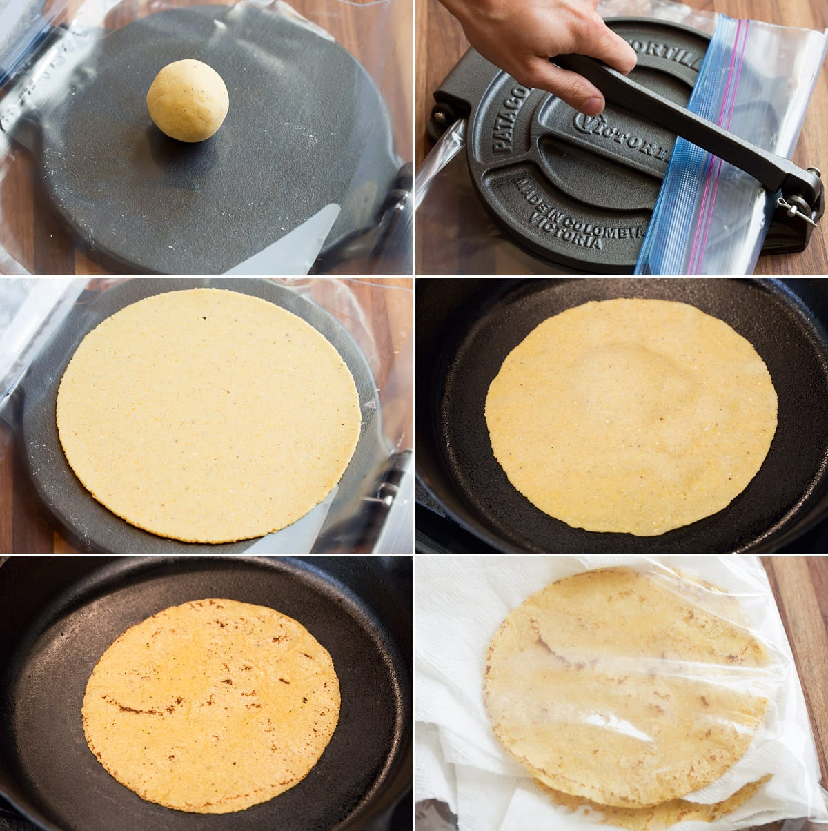 Collage of six images showing how to press corn tortilla dough in a tortilla press and cook in a skillet, then steam in a bag to soften.
