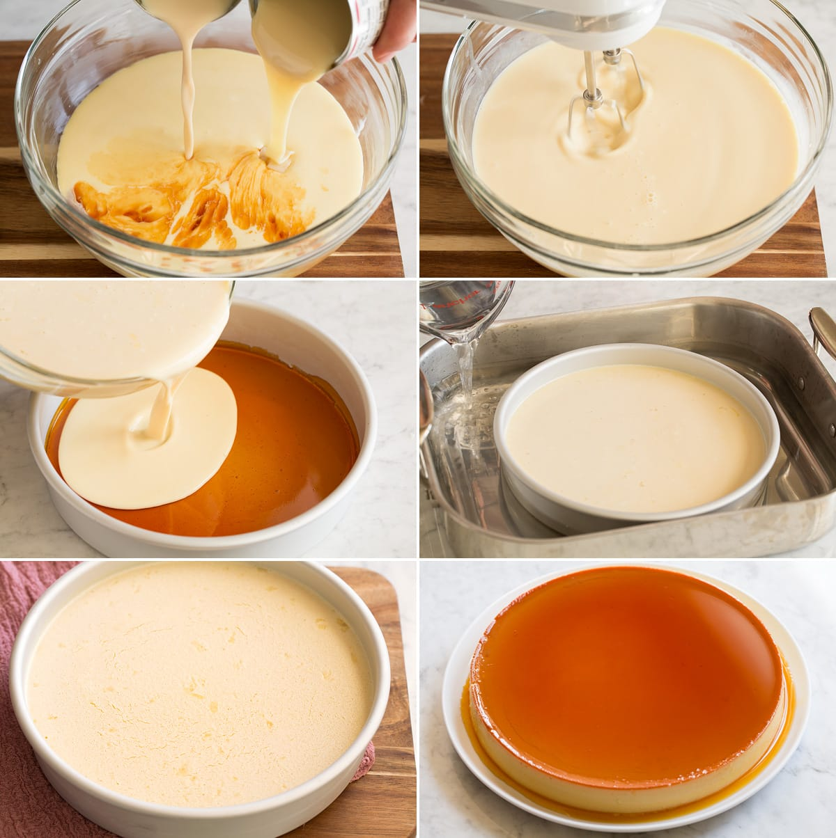 Collage of six images showing continued steps of making flan filling, pouring it into pan over caramel layer, and placing in water bath. Then flan is shown after baking and inverted.