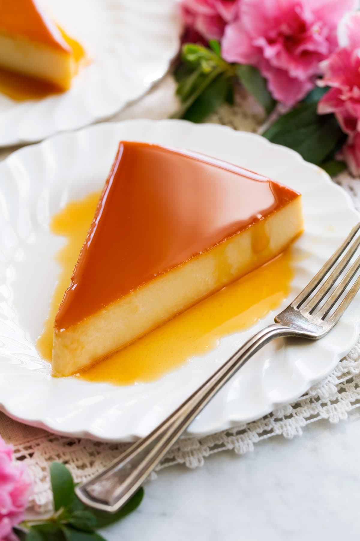 Image of one slice of flan.