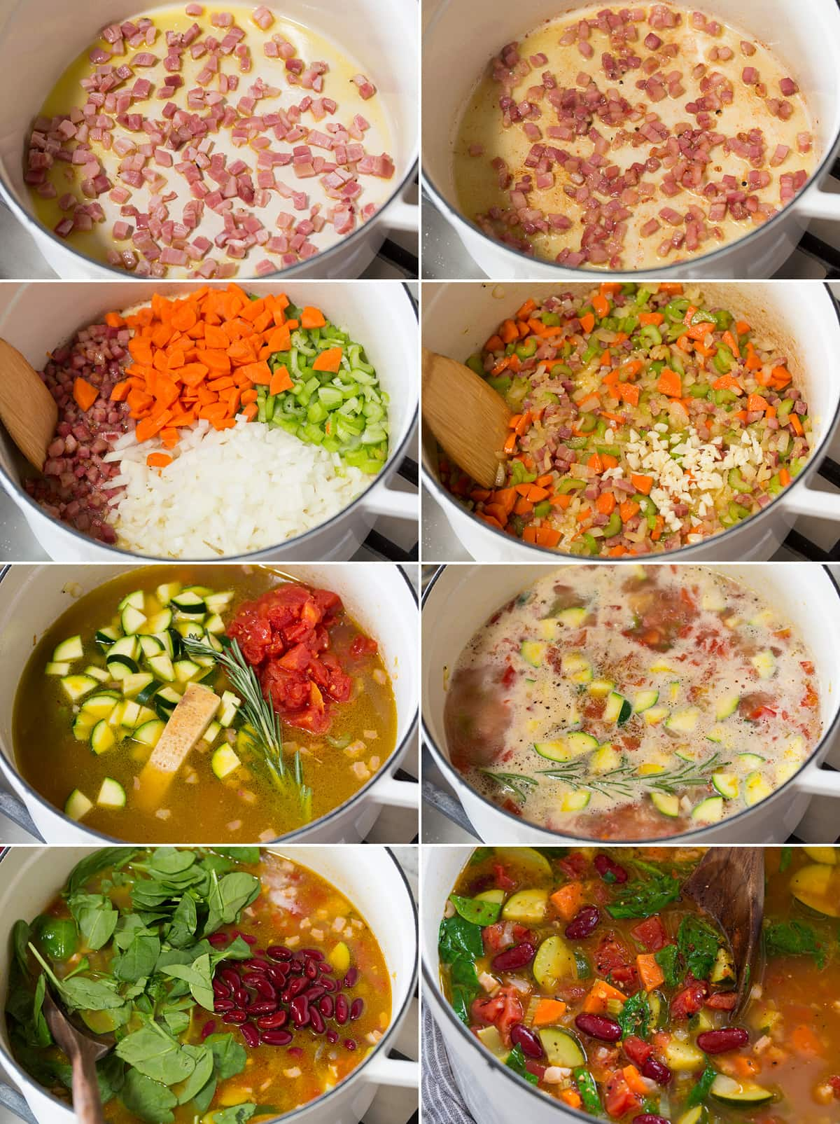 Collage of eight images showing steps to make minestrone soup in a pot on the stovetop.