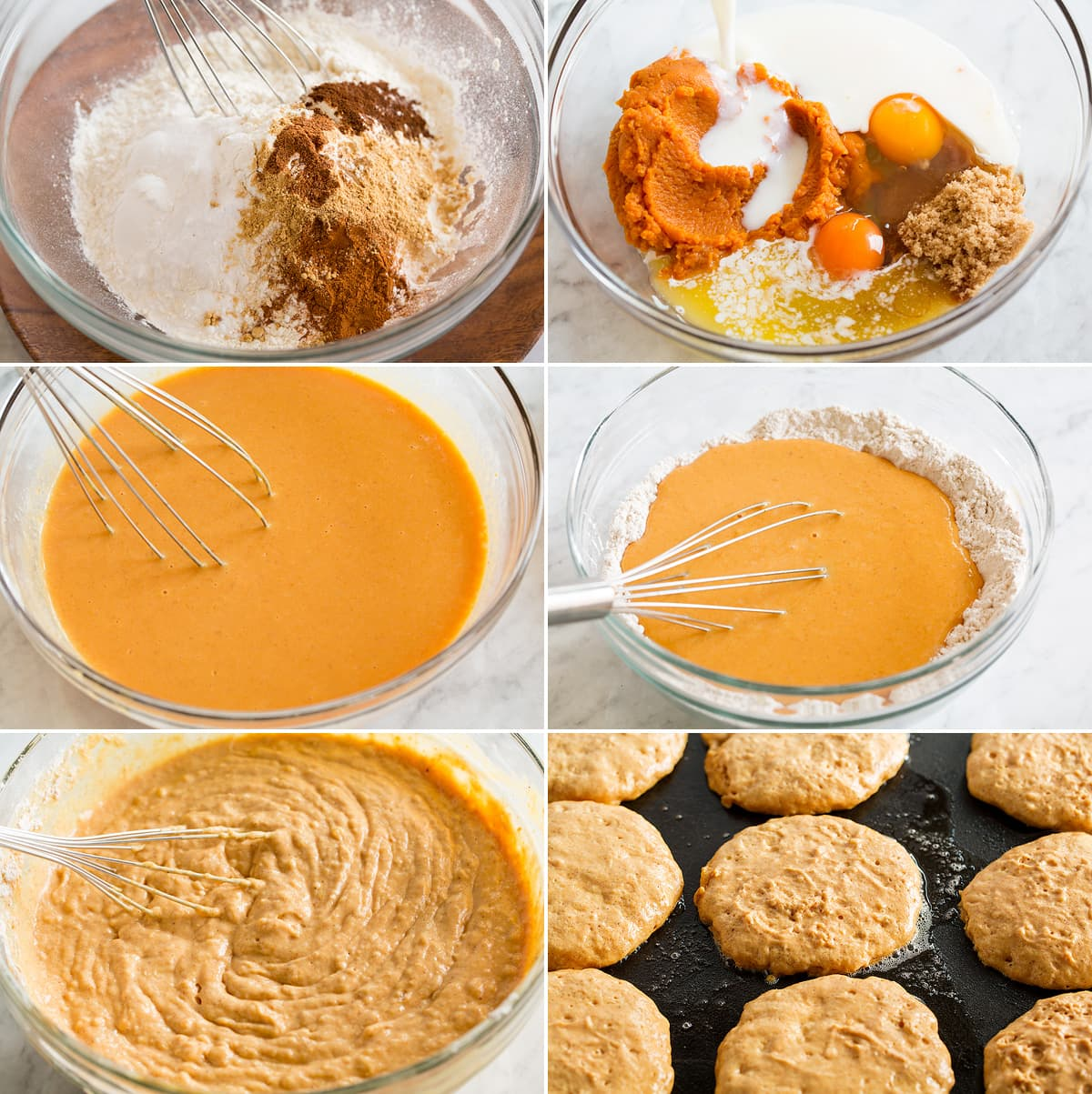 Collage of six images showing steps to making pumpkin pancakes. Spices, and flour are whisk in a bowl. Wet ingredients are mixed in another then they are combined together. Then the batter is shown formed into pancakes on a griddle.