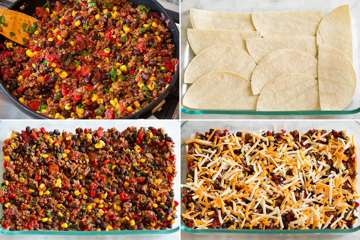 Collage of four images showing taco casserole filling and showing steps to layering casserole with tortillas, filling and cheese.